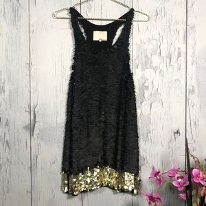 3.1 Phillip Lim MiniDress Black and Gold Sequins 0